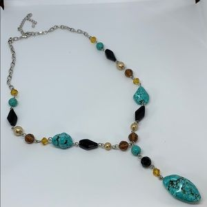 Turquoise beaded silver-tone necklace